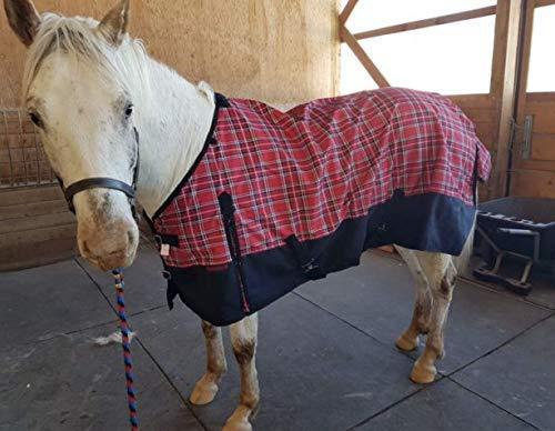 Tech Equestrian 1200 Denier Horse RAIN Sheet (Waterproof/Breathable & Wind Proof Turnout Sheet) Horse Breathable RAINSHEET (Red-Plaid, 78)