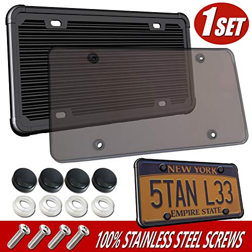 Aootf Silicone License Plate Frame with Cover - Unbreakable Clear Smoked License Plate Cover, Flat Tag Holder Cover Combo for Front or Rear License Plates ,with Plate Screws, Caps