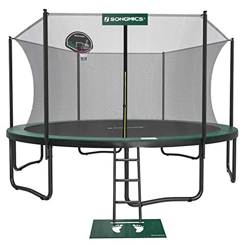 SONGMICS Outdoor Trampoline, 15-Foot Backyard Trampoline for Kids, with Enclosure Net, Basketball Hoop, Jumping Mat, Safety Pad, Ladder, Green and Black USTR154C01