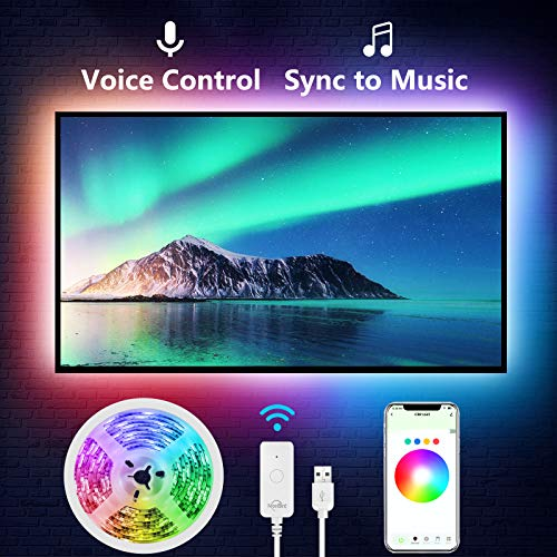 NiteBird TV LED Backlight, 9.2 Feet USB Smart Led Strip Lights Kit Works with Alexa Google Home for 24-60 Inch TV ,Sync with Music,16 Million Colors Bias Mood Lamp with Controller and APP Control