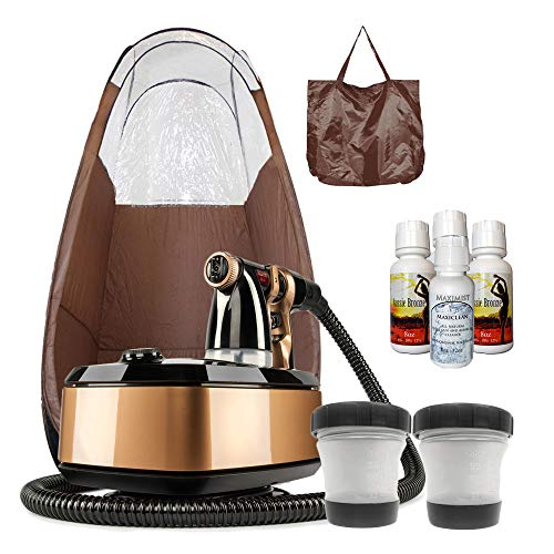 MaxiMist Allure Xena HVLP Spray Tanning System with Pop Up Tan Tent Brown