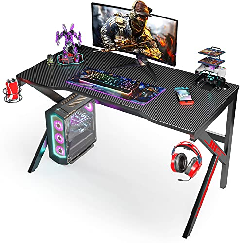 "Gaming Desk, SIMBR 48"" K-Frame Design Computer Desk, Large Workstation Gaming Table for Gaming Laptop, Office PC Gamer Desk with Controller Stand Cup Holder Headphone Hook, Easy to Assemble"