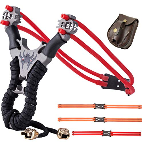 SLINGQIKAI 304 Stainless Steel Slingshot Professional Outdoor Hunting Slingshot Powerful Launcher Set,It Comes with 4 Replacement Rubber Bands and 1 Slingshot Bag