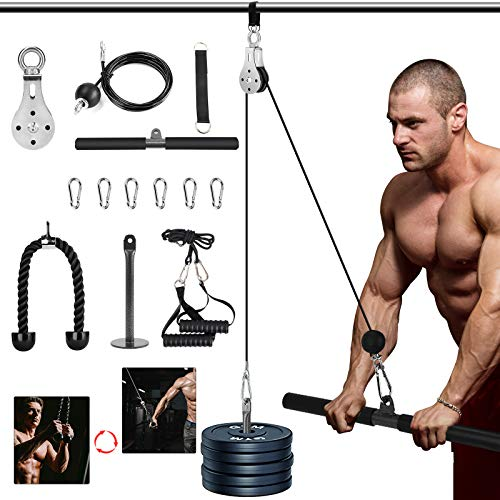 3in1 Pulley Cable, Home Cable Pulley System, Fitness Pulley System,Gym Equipment for Home, with Straight Bar, Band Handles Grips, Nylon Tricep Rope, 3parts Acessories Exchange Use for Home Gym (1.8M)