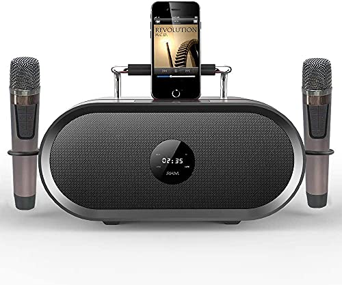 RHM Karaoke Machine for Kids&Adult,2 Wireless Microphones,Rechargeable Battery Speaker,Portable PA Speaker System with Bluetooth/AUX/USB/SD for Home,Party,Wedding,Picnic Outdoors&Indoors Activities