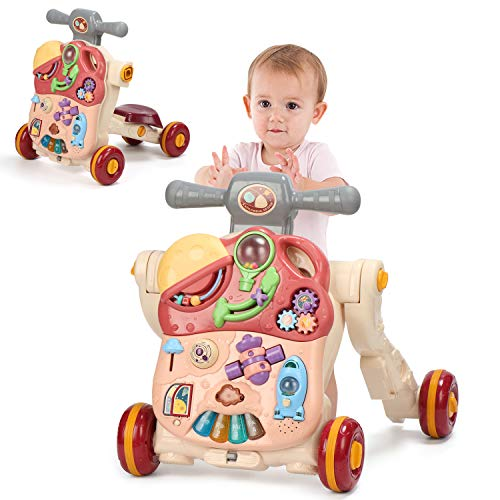 4 in 1 Sit to Stand Walker, Kids Early Educational Activity Center with Lights& Music, Multifunctional Removable Play Panel, Baby Push Walker, Ride On Toy Car