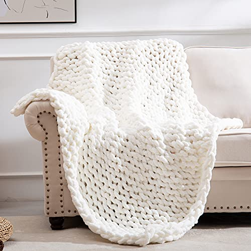 SPAOMY Chunky Knit Blanket Chenille Handmade Throw Blanket Cozy Warm Blanket for Bed Couch Home Decor(40x40 in,White)