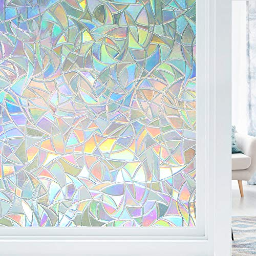 Haton Window Film Privacy Rainbow Static Window Cling 3D Decorative Decals Non-Adhesive Removable Window Glass Vinyl, Anti-UV Sticker Cover Heat Control, 35.4'x78.7'