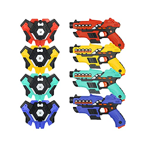 MESIXI Spray Design Laser Tag - Laser Tag Guns with Vests Set of 4 - Multi Player Lazer Tag Set for Kids Toy for Teen Boys & Girls - Outdoor Game for Kids, Adults and Family - Ages 8-12