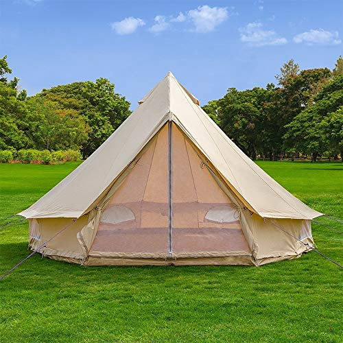 Outdoor Waterproof Luxury Glamping Bell Tents for Boutique Camping and Occasional Family Camping Trips and Festivals and Human shelter for inhabiting or Leisure (Beige Cotton Canvas, Dia. 4 Meters)
