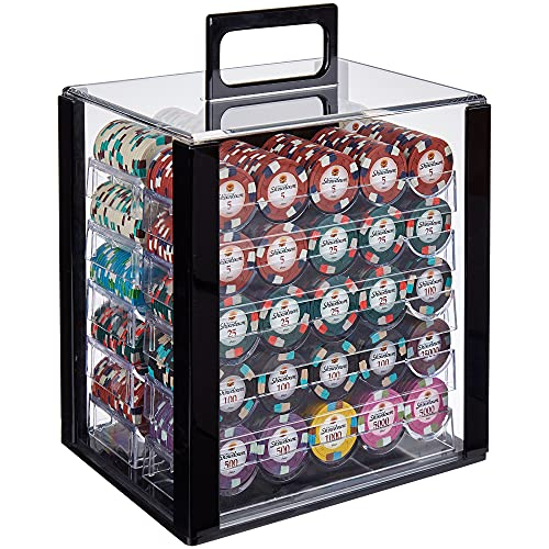 Brybelly Showdown Poker Chip Set, 1,000 Pieces - Heavyweight 13.5g Clay Composite Playing Chips with Acrylic Trays & Display Case - Bulk Variety Pack for Casino & Game Nights