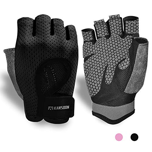 Workout Gloves, Knuckle Weight Lifting Shorty Fingerless Gloves with Curved Open Back, for Powerlifting, Gym, Crossfit, Women and Men (Black, Medium)