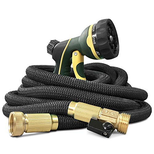 NGreen Flexible and Expandable Garden Hose - Strength Durable Fabric and 13-Layer Latex Inner Tube, Leakproof Solid Brass Fittings with Nozzle, Lightweight Easy Storage Kink Free Water Hose (25 FT)