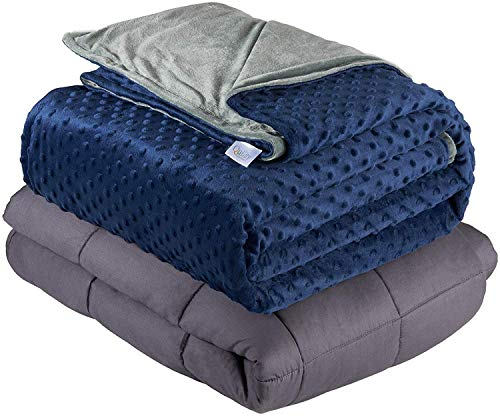 Quility Weighted Blanket for Adults - Queen Size, 60'x80', 15 lbs - Heavy Heating Blankets for Restlessness - Grey, Navy Cover