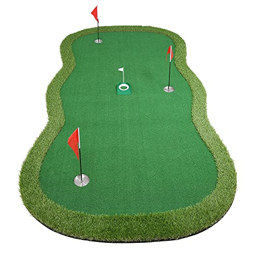 Chriiena Golf Putting Green, Practice Putting Green Mat, Large Professional Golfing Training Mat for Indoor Outdoor (Putting green-5X10ft)