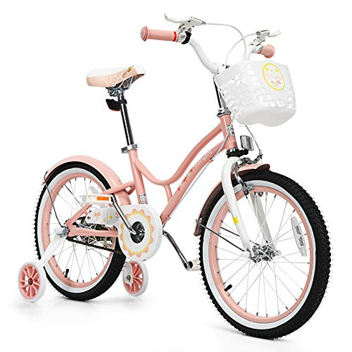 BABY JOY Kids Bike, 16, 18 Inch w/Removable Training Wheels, Adjustable Seat, Steel Frame, Kids Bicycle w/Hand Brake for Emergency Braking, for 4-9 Years Old Toddler Girls Boys (Pink, 18'')
