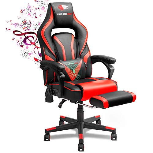 SOUTHERN WOLF Video Game Chair PU Leather Gaming Chair with Bluetooth Speakers Racing Style Home Office Chair with Retractable Footrest Ergonomic PC Game Computer Desk Chair with Lumbar Massage Red