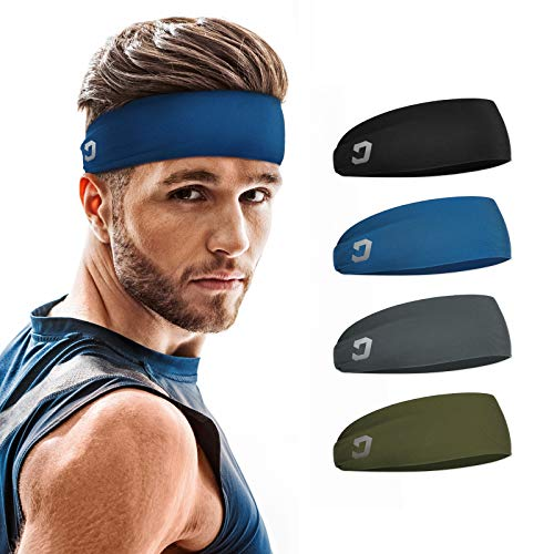 Vinsguir Sports Headbands for Men (4 Pack) - Lightweight Mens Headband Sweat Band, Moisture Wicking Workout Head Band Sweatband, Gym Accessories for Running Cross Training Tennis Yoga, Unisex Hairband
