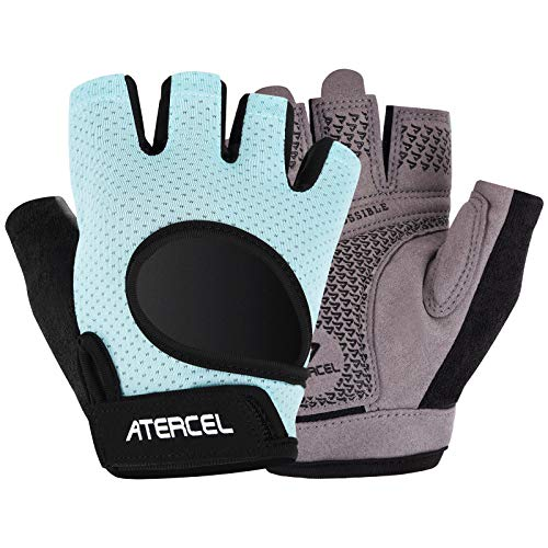 Atercel Workout Gloves 2021 Upraded Full Palm Protection, Best Exercise Gloves for Gym, Cycling, Weight Lifting, Breathable, Super Lightweight for Men and Women (Aqua, S)