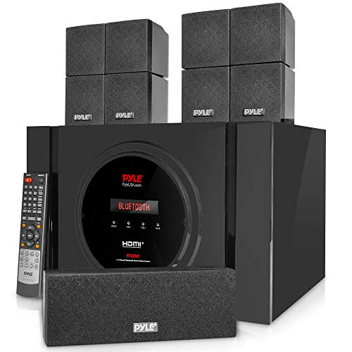 Pyle 5.1 Channel Home Theater Speaker System - 300W Bluetooth Surround Sound Audio Stereo Power Receiver Box Set w/ Built-in Subwoofer, 5 Speakers, Remote, FM Radio, RCA - PT589BT,Black