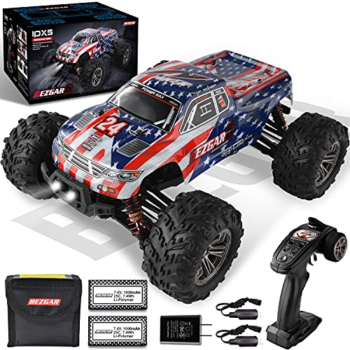 BEZGAR 6 Hobby Grade 1:16 Scale Remote Control Truck, 4WD High Speed 40+ Kmh All Terrains Electric Toy Off Road RC Monster Vehicle Car Crawler with 2 Rechargeable Batteries for Boys Kids and Adults