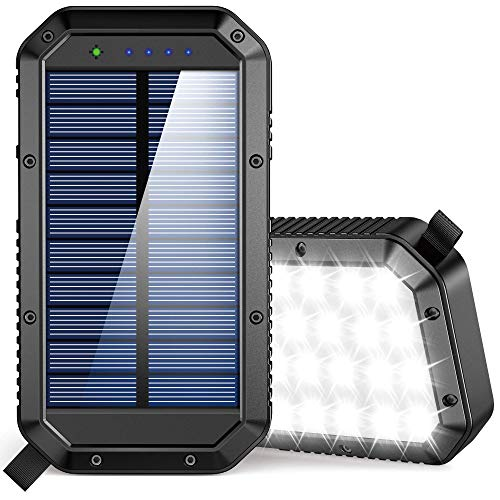 Solar Charger Power Bank 25000mAh, 36 LEDs Emergency Portable Solar Battery Charger with 3 Output Ports External Battery Pack Camping Accessories Solar Phone Charger for Cell Phone