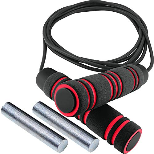 Weighted Jump Rope - (1LB) Solid PVC for Crossfit and Boxing - Heavy Jump Rope with Memory Non-Slip Cushioned Foam Grip Handles for Fitness Workouts Endurance and Strength Training