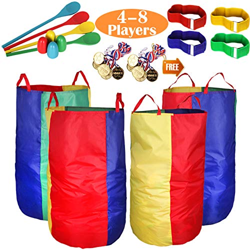 Outdoor Lawn Games Potato Sack Race Bags for Kids and Adults, with Egg and Spoon Race Games, 3-Legged Race Bands, Game Prizes, Outside Backyard Field Day Birthday Party Games for Kids and Family