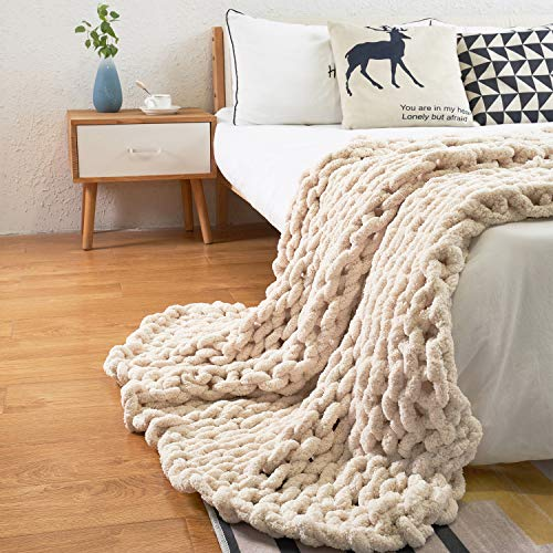 Comtest Chunky Knit Blanket Handmade Cozy and Warm Chenille Blanket for Home Decorate,Beige 47''x60''