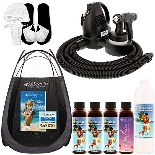 Belloccio Premium T75 Sunless Turbine Spray Tanning System; Pint Simple Tan 8% DHA Solution, 4 Solution Variety Pack, Tent, Video Guide Link