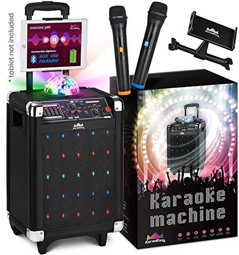 KaraoKing Karaoke Machine for Kids & Adults Wireless Microphone Speaker with Disco Ball, 2 Wireless Bluetooth Microphones & Phone/Tablet Holder - Karaoke Bluetooth Toys for Kids (G100)