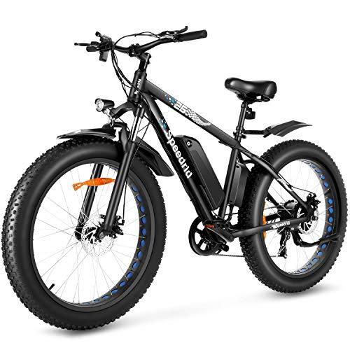 Speedrid Electric Bike 48V 500W Fat Tire Electric Bike Snow Bike 26' 4.0, 48V 10Ah Removable Battery and Professional 7 Speed