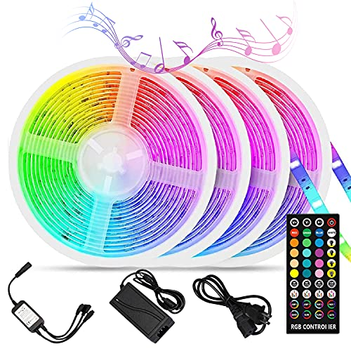 Led Strip Lights Sync to Music, Tasmor 65.6ft 5050 RGB Light Color Changing with Music IP65 Waterproof LED Rope Light with Controller for Home, Room, Bar, Party