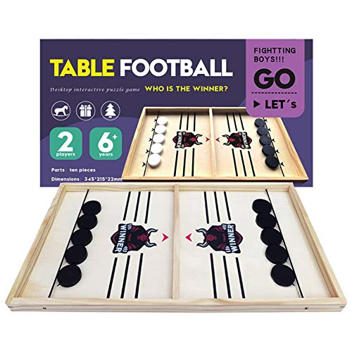 CABINAHOME Fast Sling Puck Game Desktop Battle 2 in 1 Ball air Hockey Game Board Games Foosball Sling Shot Table Game Wood Interactive Chess Toy for Kids Family (Bull)