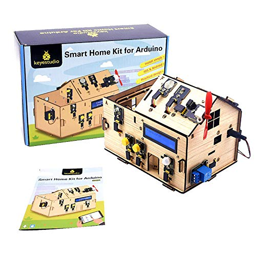 KEYESTUDIO Smart Home Starter Kit for Arduino UNO, Electronics Home Automation Coding Kit, Wooden House Learner DIY Kit STEM Education for Kids Adults Teens