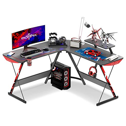 MOTPK L Shaped Gaming Desk 51' L Shaped Desk, Real Carbon Fiber Coated, Gaming Desk Table with Large Monitor Riser Stand for Home Office, Sturdy Writing Workstation, Gaming Desk with Shelf, Black