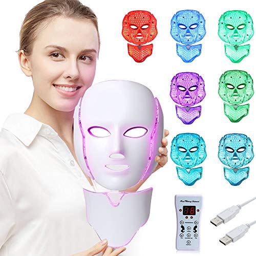 LED Face Mâsk Light Therapy | 7 Color Skin Rejuvenation Therapy LED Photon Mâsk Light Facial Skin Care Anti Aging Skin Tightening Wrinkles Toning Mâsk (For face & neck).