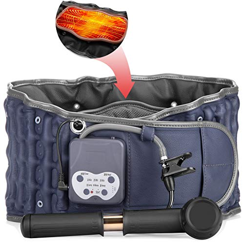 Cordless Heating Decompression Back Belt with Rechargeable Battery for Lower Back Pain Relief, Portable Lumbar Traction Device with Heating Pad, One Size Fits 29-49 Waist