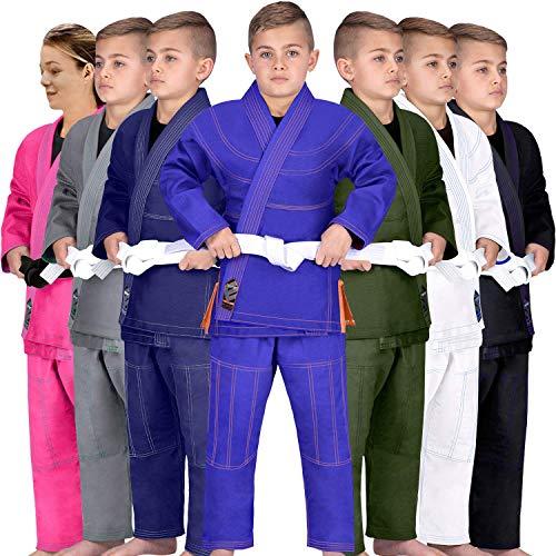 Elite Sports Kids BJJ GI, GIS for Youth Jiu Jitsu IBJJF Children's Lightweight Brazilian Jiujitsu Kimono W/Preshrunk Fabric & Free Belt (Blue, C3)