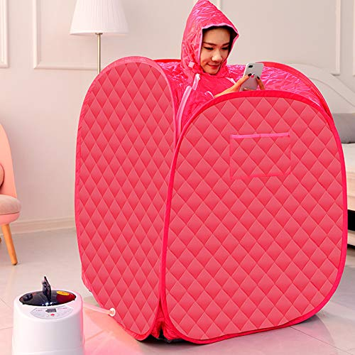 SEAAN Portable Steam Sauna,Home Sauna Full Body Spa for Weight Loss Detox Therapy 1 Person or 2 Person Share 2.6L Steamer with Folding Chair (US Stock)… (Red)