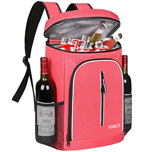 FORICH Soft Cooler Backpack Insulated Waterproof Backpack Cooler Bag Leak Proof Portable Cooler Backpacks to Work Lunch Travel Beach Camping Hiking Picnic Fishing Beer for Men Women (Watermelon Red)