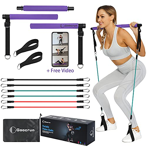 Goocrun Portable Pilates Bar Kit with Resistance Bands for Men and Women - 6 Exercise Resistance Bands (15, 20, 30 LB) - Home Gym Equipment - Supports Full-Body Workouts – with Video (Purple)