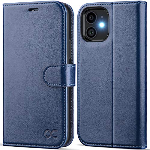 OCASE Compatible with iPhone 12 Case/Compatible with iPhone 12 Pro Wallet Case, PU Leather Flip Case with Card Holders RFID Blocking Kickstand Phone Cover 6.1 Inch (Blue)