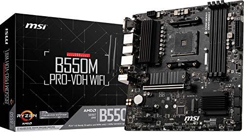 MSI B550M PRO-VDH WiFi ProSeries Motherboard (AMD AM4, DDR4, PCIe 4.0, SATA 6Gb/s, M.2, USB 3.2 Gen 1, Wi-Fi, D-SUB/HDMI/DP, Micro-ATX)