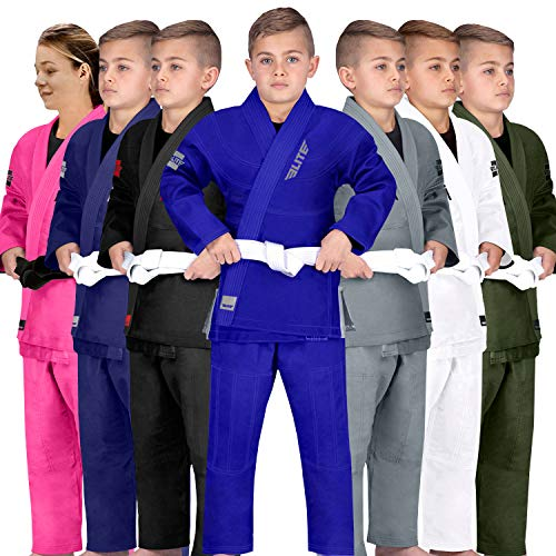 Elite Sports Kids BJJ GI, Youth IBJJF Children's Brazilian Jiujitsu Gi Kimono W/Preshrunk Fabric & Free Belt (See Special Sizing Guide) (Premium Blue, C1)