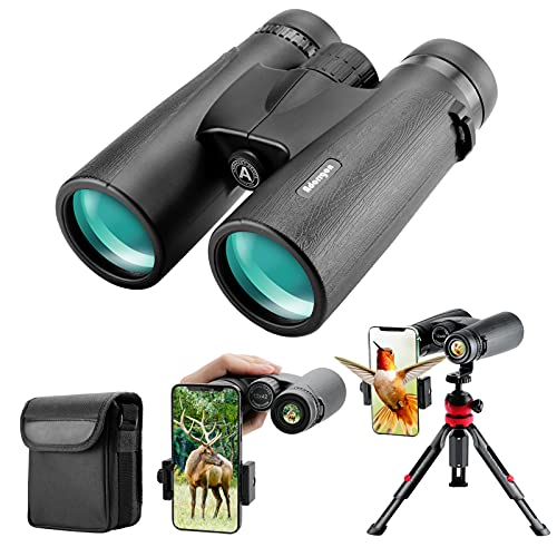 12x42 HD Binoculars for Adults with Upgraded Phone Adapter, Tripod and Tripod Adapter - Large View Binoculars with Clear Low Light Vision - Waterproof Binoculars for Bird Watching Hunting Travel