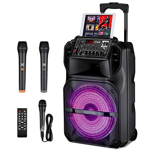 Karaoke Machine for Adults and Kids with 3 Karaoke Microphones, SEAPHY Dazzling DJ Light 12'' Sub-woofer BT Connectivity Portable PA Speaker System Bonus 2 Wireless Microphone/1 Corded Mic, 540W Peak
