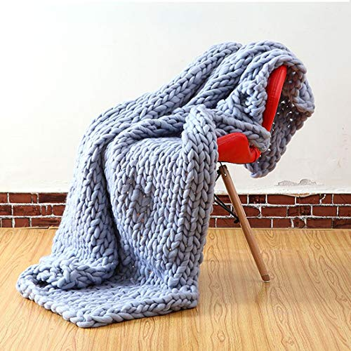 Handwoven Luxury Knit Chunky Throw Blanket, Large Cable Knitted Soft Cozy Polyester Bulky Blankets for Couch Home Decor (Grey, 5060 inches)