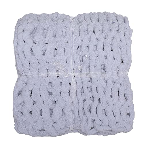 Chenille Chunky Knit Throw Blanket (48'x60')-Large Cable Knitted Soft Cozy Polyester Chenille Bulky Blankets for Couch Home Decor, on The Couch or Sofa Gray
