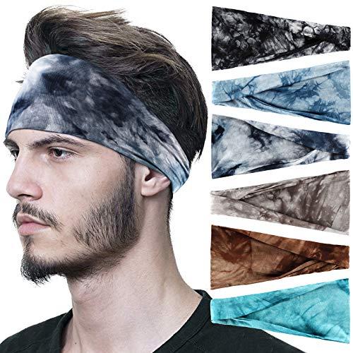 Sports Headbands for Men 6 Pack, OFFTESTY Lightweight Tiedye Mens Headband Stretchy Moisture Wicking Workout Sweatbands